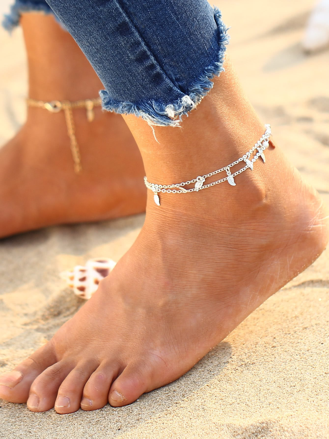 Leaf Detail Layered Chain Anklet v notch pearl leaf chain detail fluted sleeve dress