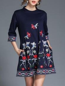 Flowers Embroidered Pockets Dress