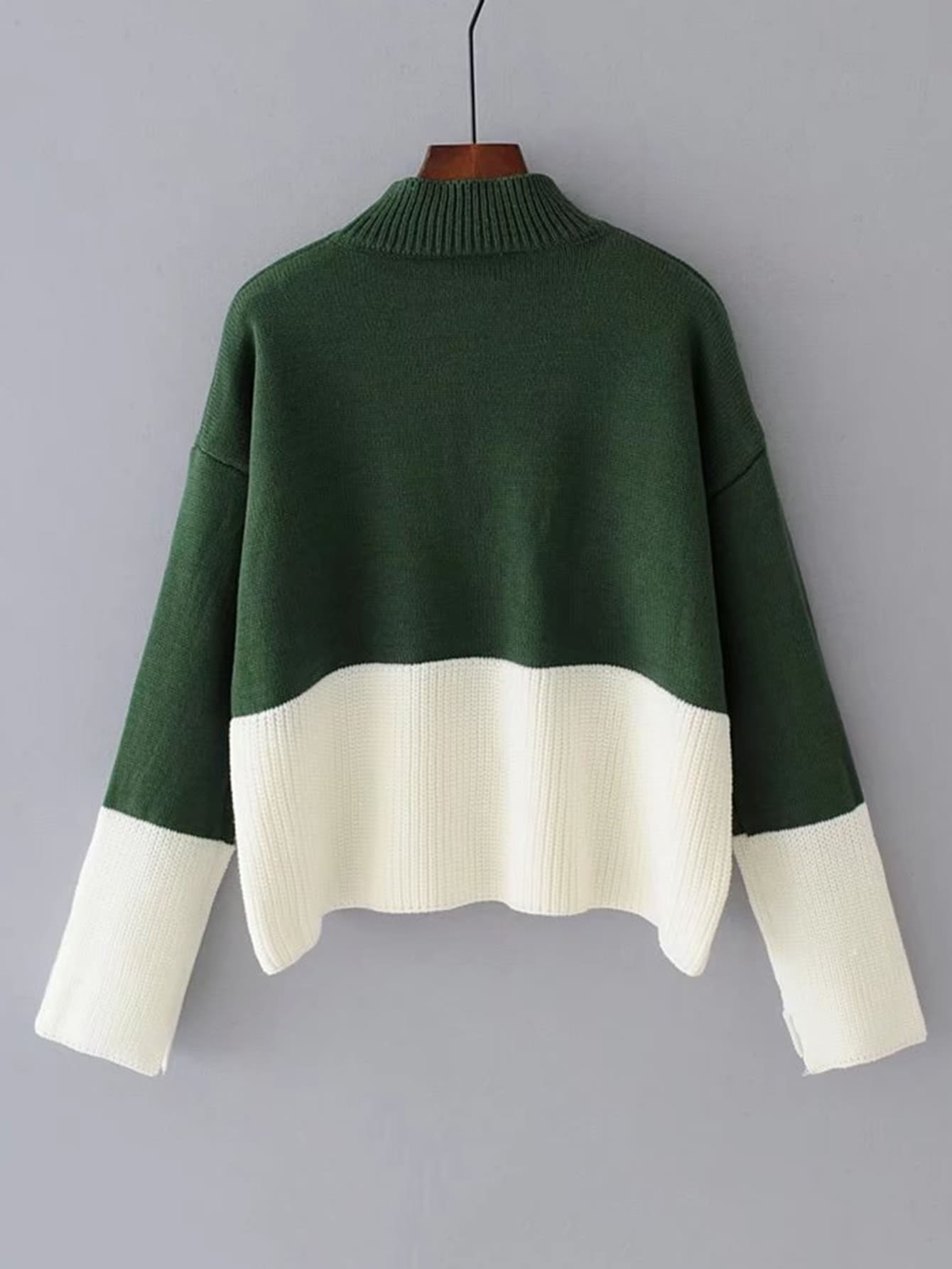 Two Tone Ribbed Pullover Sweater -SheIn(Sheinside)
