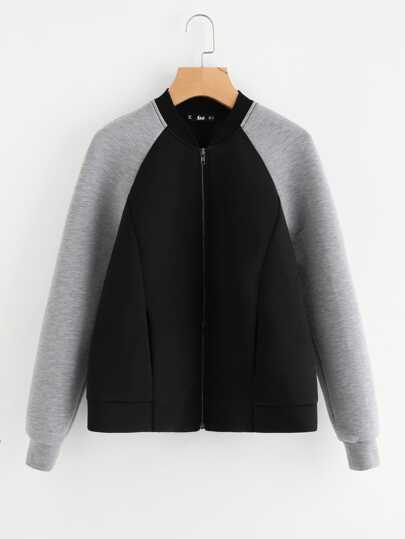 Contrast Raglan Sleeve Structured Jacket