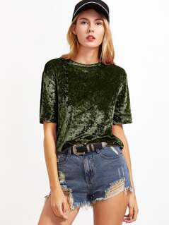 Drop Shoulder Velvet Top