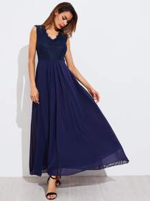 Lace Bodice Box Pleated Dress