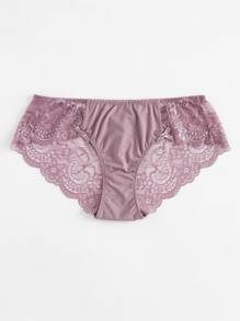 Bow Detail Lace Panel Panty