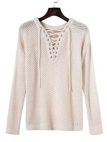 Eyelet Lace Up V Neck Hollow Out Sweater