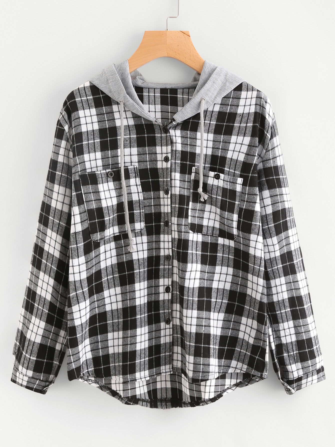 Hooded Tartan Blouse With Chest Pockets contrast hooded tartan plaid blouse