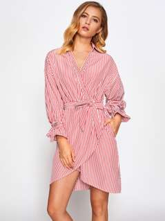 Belted Cuff And Waist Wrap Shirt Dress