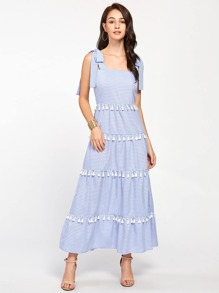 Tie-Strap Tiered Tassel Trim Striped Dress