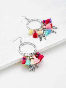 Feather & Tassel Design Charm Earrings