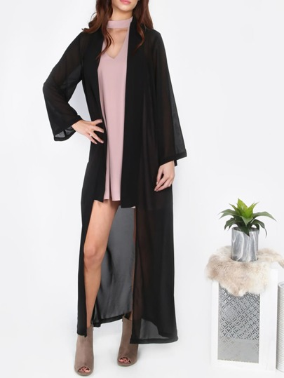 Black Long Chiffon Outerwear