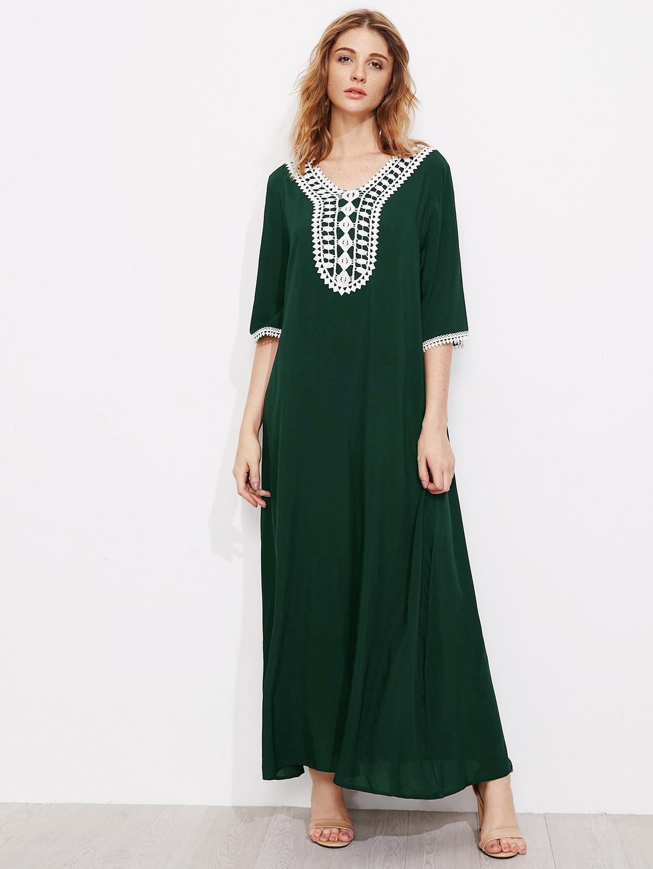 Contrast Crochet Trim Kaftan Dress