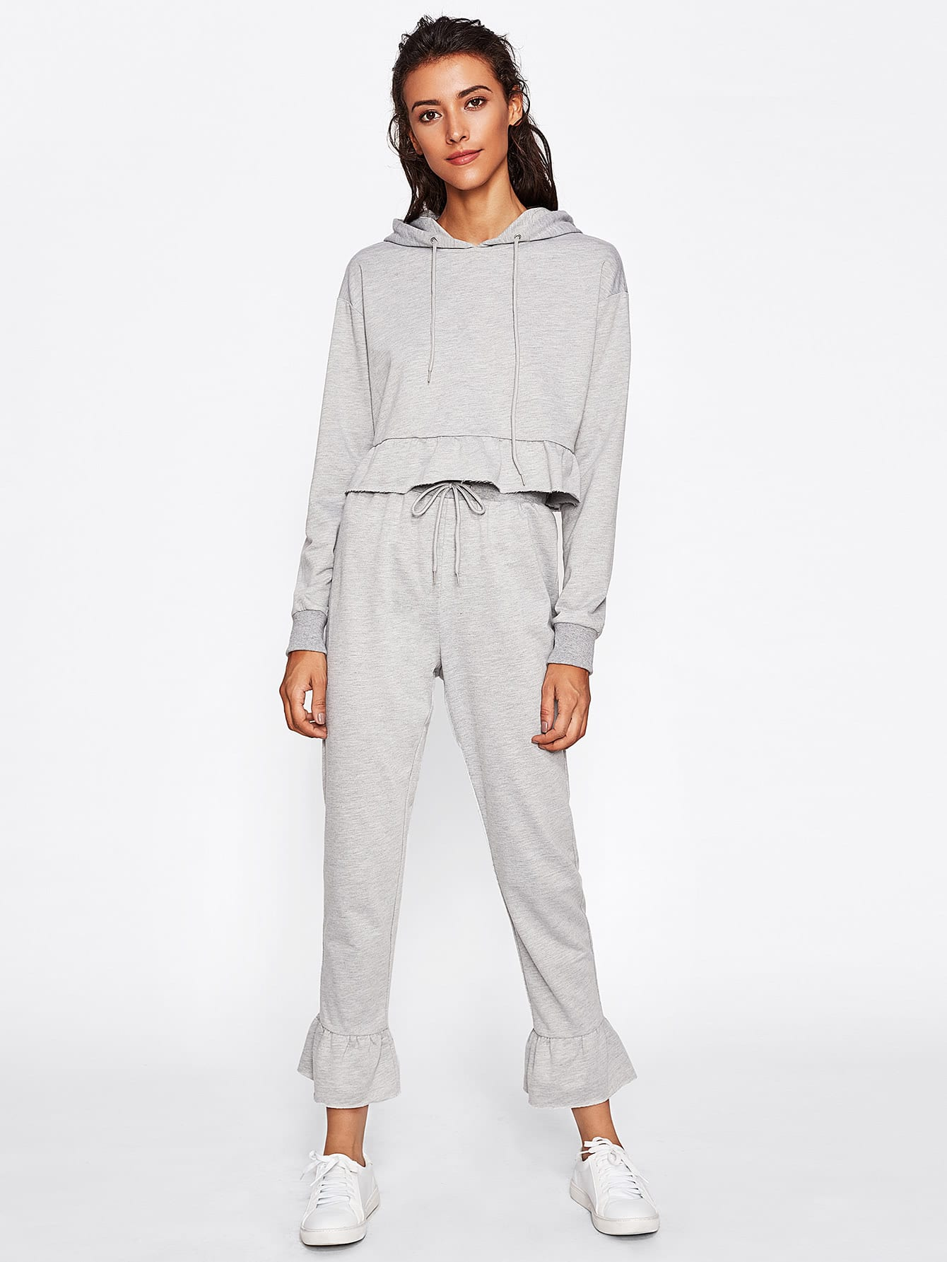 Ruffle Hem Hoodie And Bell Bottom Pants Set