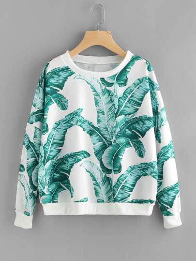Sweat-shirt imprimé feuilles