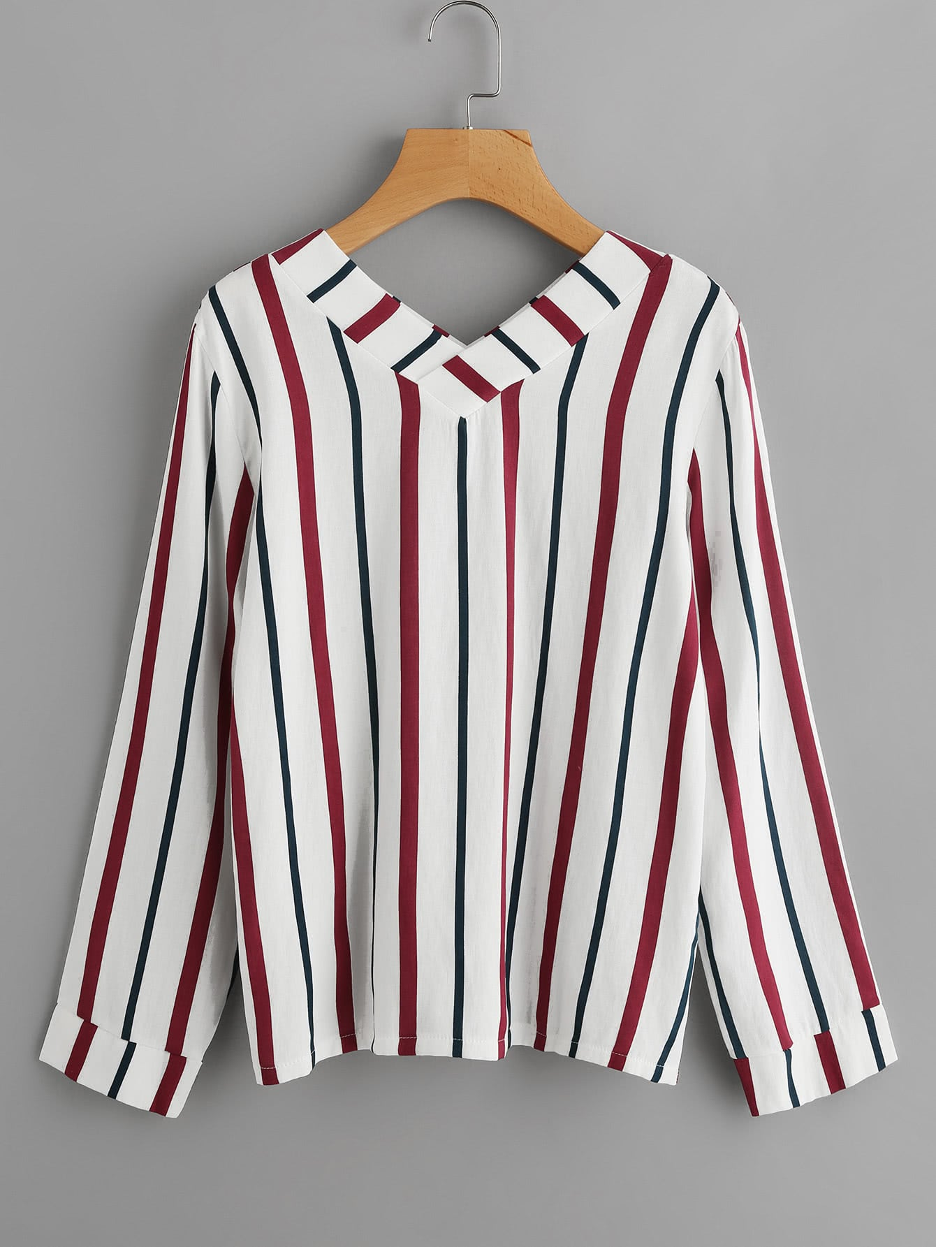 V Neckline Vertical Striped Blouse RBLO170810104