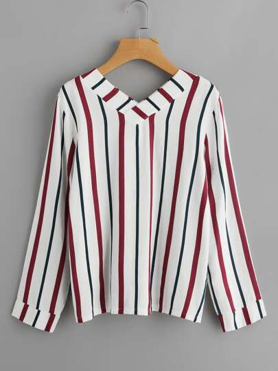 V Neckline Vertical Striped Blouse