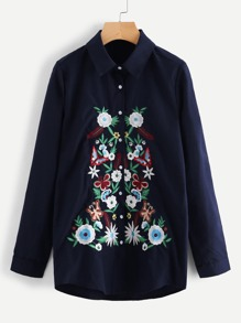Botanical Embroidered Front Shirt