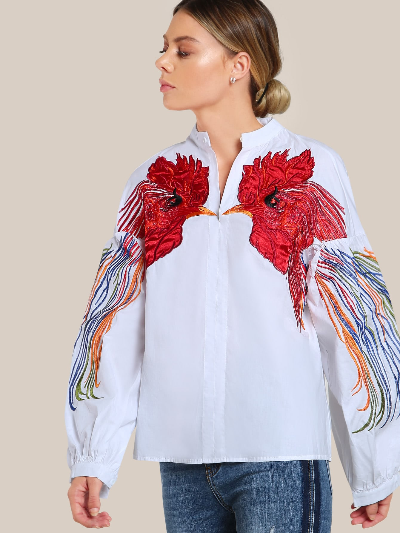 Bird Embroidered Lantern Sleeve Top