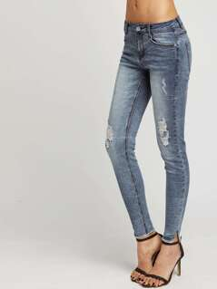 Faded Wash Ripped Knee Skinny Jeans