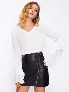 Flounce Trim Bell Cuff Semi Sheer Top