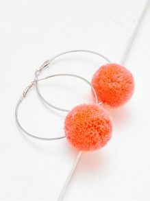 Contrast Pom Pom Hoop Earrings