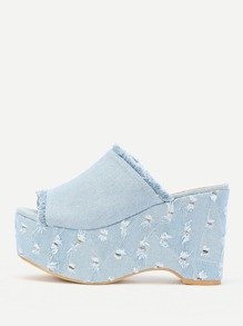 Raw Trim Denim Mule Wedges