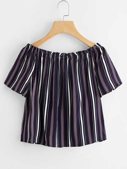 Boat Neckline Vertical Striped Blouse