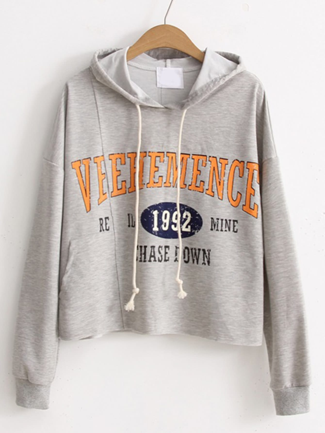 Drop Shoulder Seam Drawstring Hooded Sweatshirt