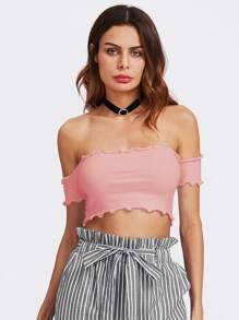 Lettuce Edge Trim Bardot Ribbed Crop Tee
