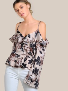 Floral Print Wrap Top TAUPE