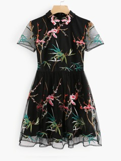 Botanical Embroidered Mesh Overlay Fitted & Flared Dress