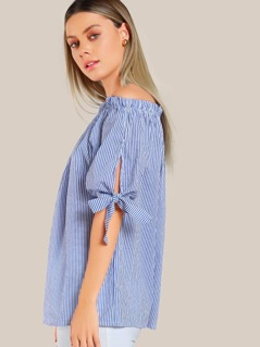 Off SHoulder Striped Top BLUE