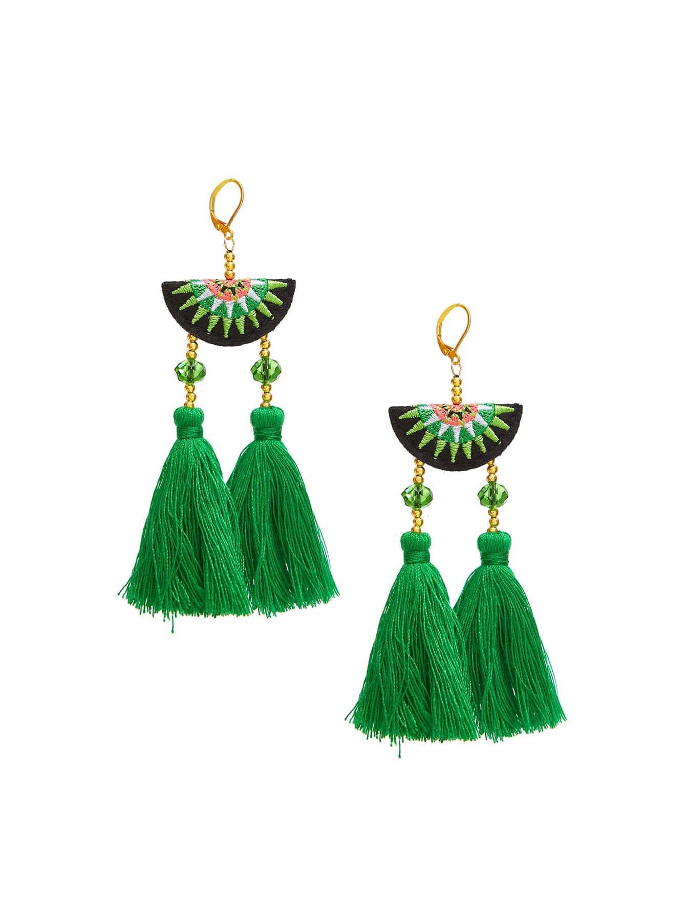 Tassel Drop Vintage Earrings vintage tassel drop hoop earrings