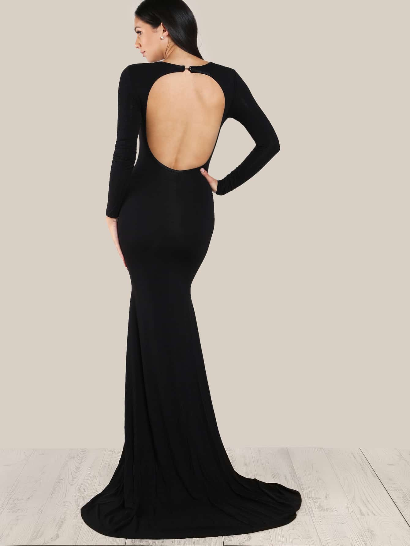 Open Back Form Fitting Fishtail Dress metallic form fitting dress