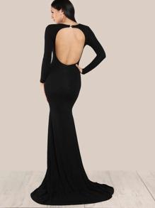 Open Back Form Fitting Fishtail Dress