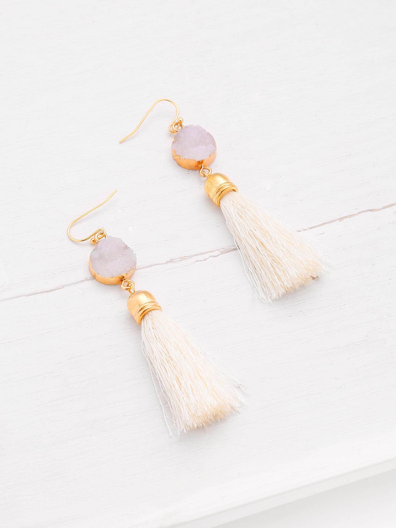 Crystal Detail Tassel Drop Earrings tassel drop rhinestone detail earrings