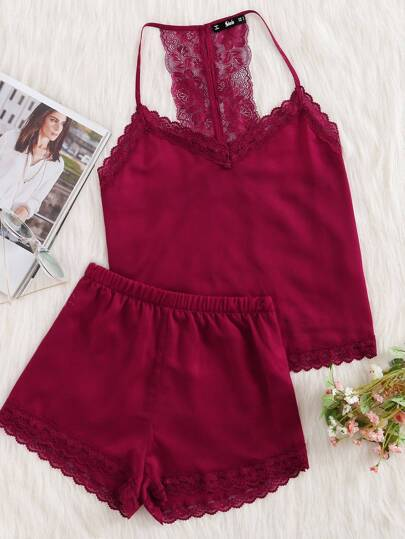 Lace Racerback Cami And Shorts Pajama Set