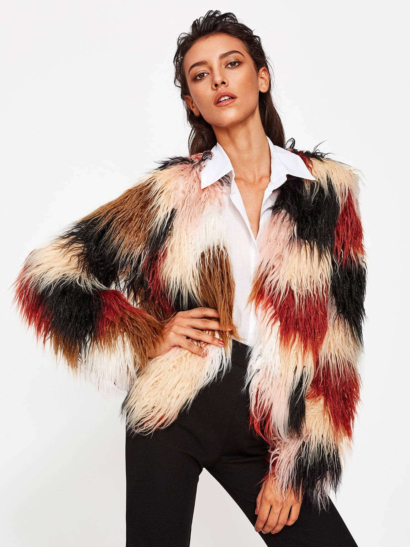 Image of Faux Fur Open Front Coat
