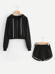 Zip Up Hoodie And Contrast Binding Dolphin Shorts Set