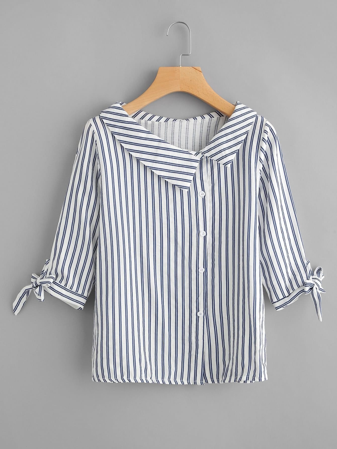 Vertical Striped Tie Cuff Blouse vertical striped embroidered half placket tie cuff blouse