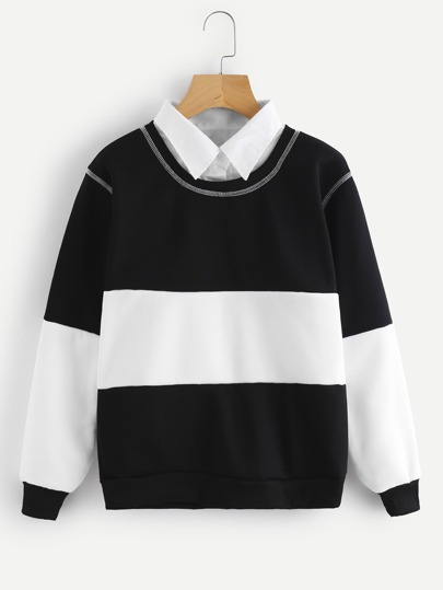Color Block Shirt Collar Sweatshirt