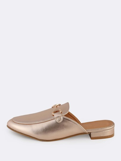 Metallic Front Buckle Loafers ROSE GOLD