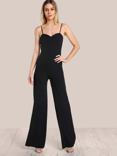 Spaghetti Strap Bustier Inspired Jumpsuit BLACK