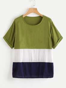 Color Block Cuffed Blouse