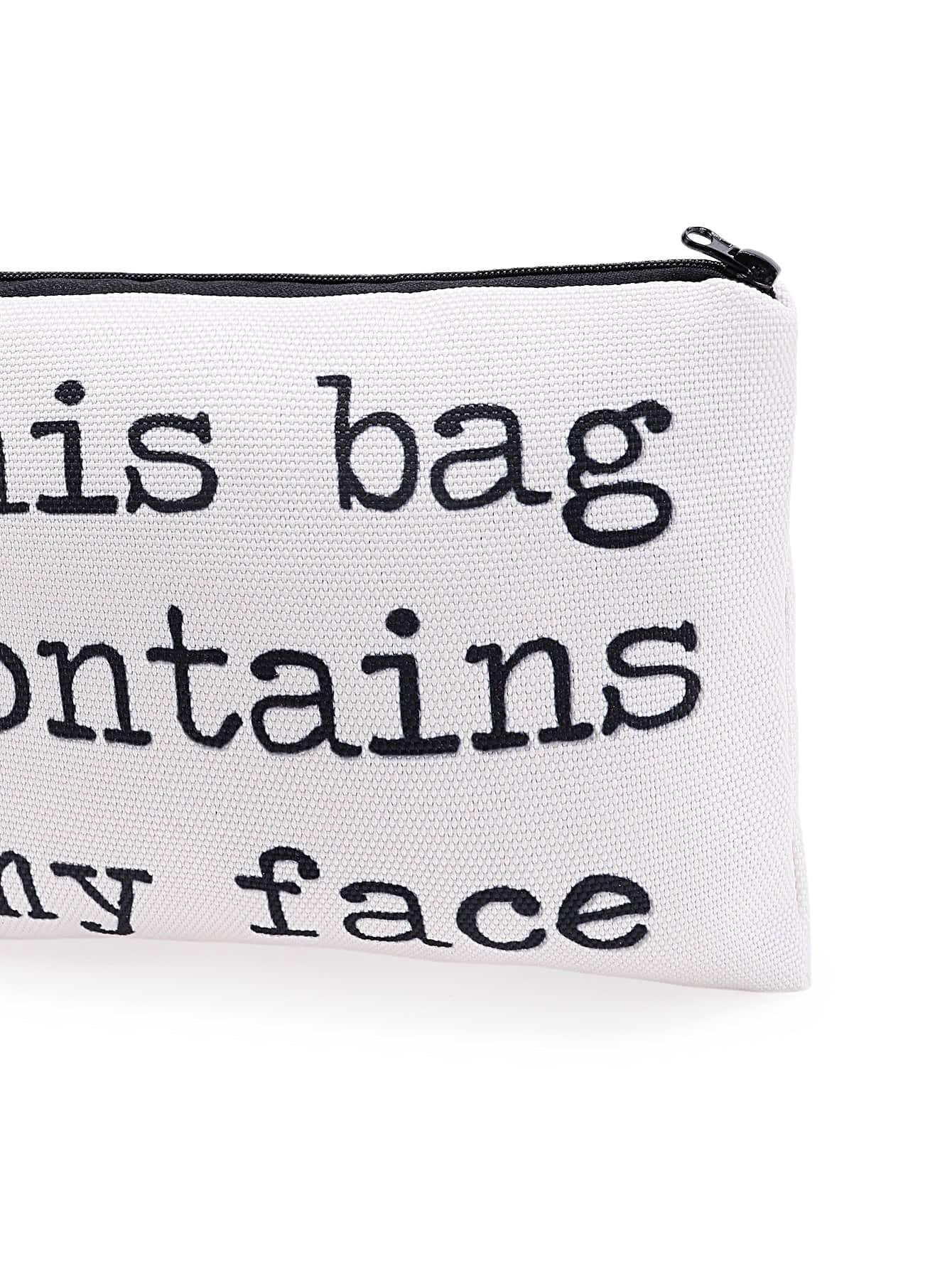 Slogan Print Zipper Cosmetic Bag