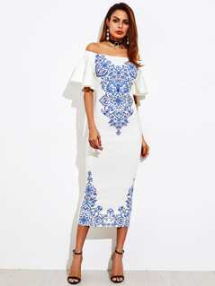 Bell Sleeve Porcelain Print Bardot Dress