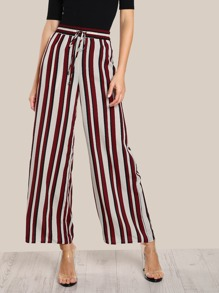 Drawstring Detail Striped Palazzo Pants