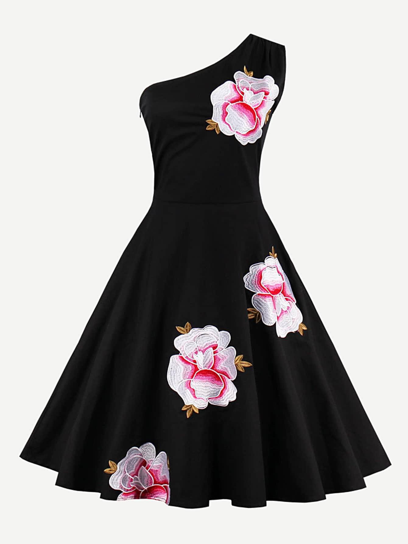 Купить Модное платье на одно плечо с вышивкой, null, SheIn