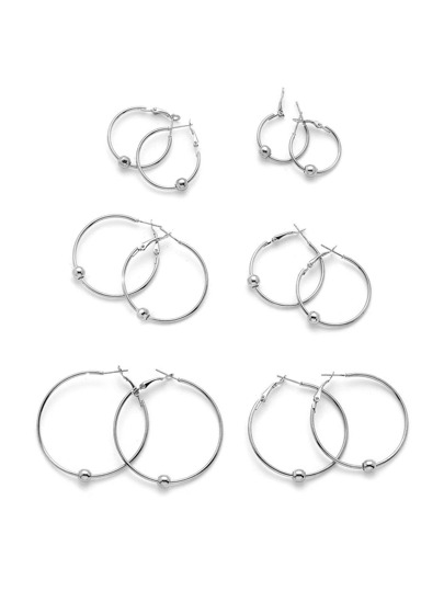 Mixed Size Hoop Earrings 6pairs