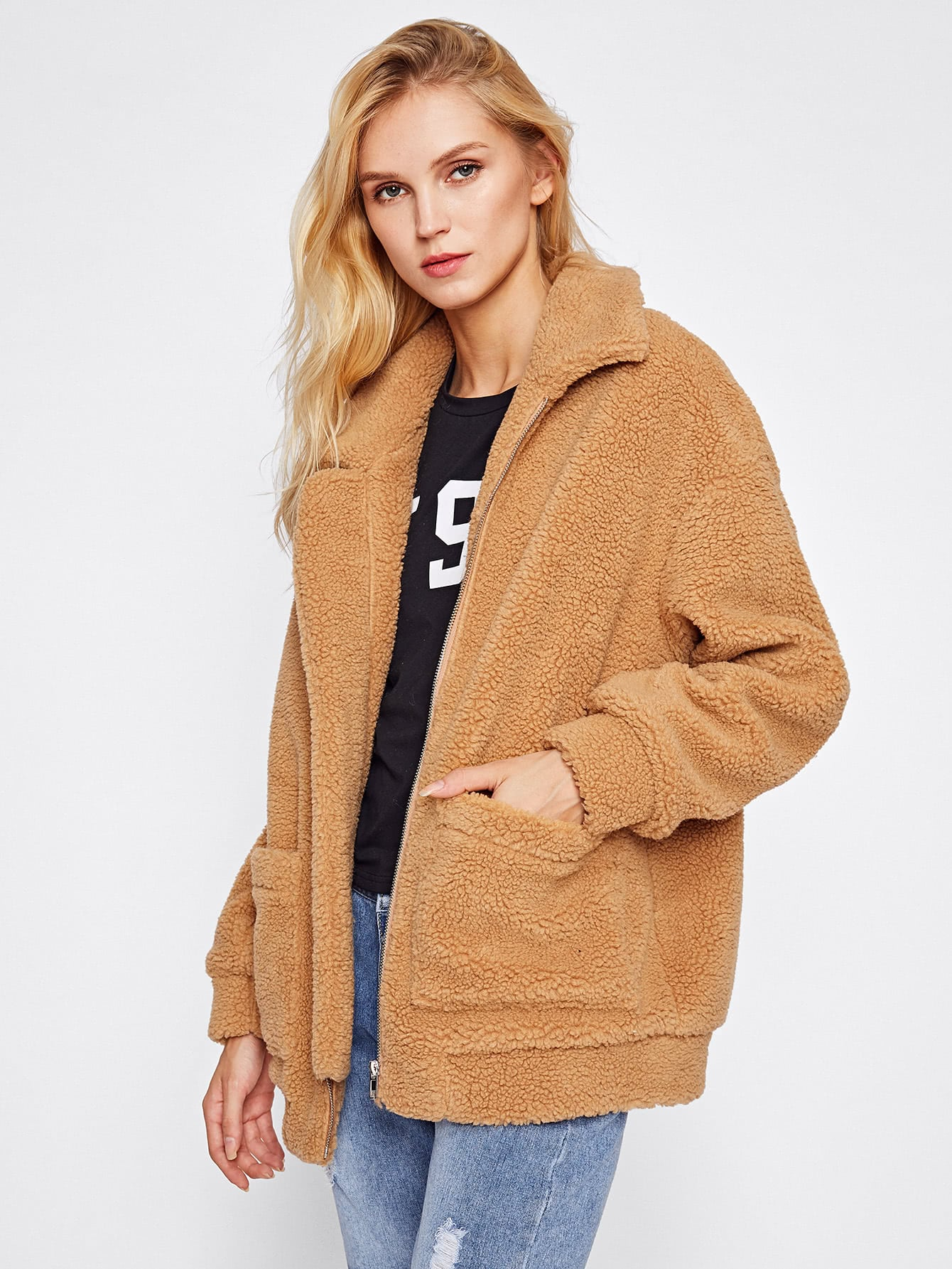 Drop Shoulder Oversized Fleece Jacket -SheIn(Sheinside)