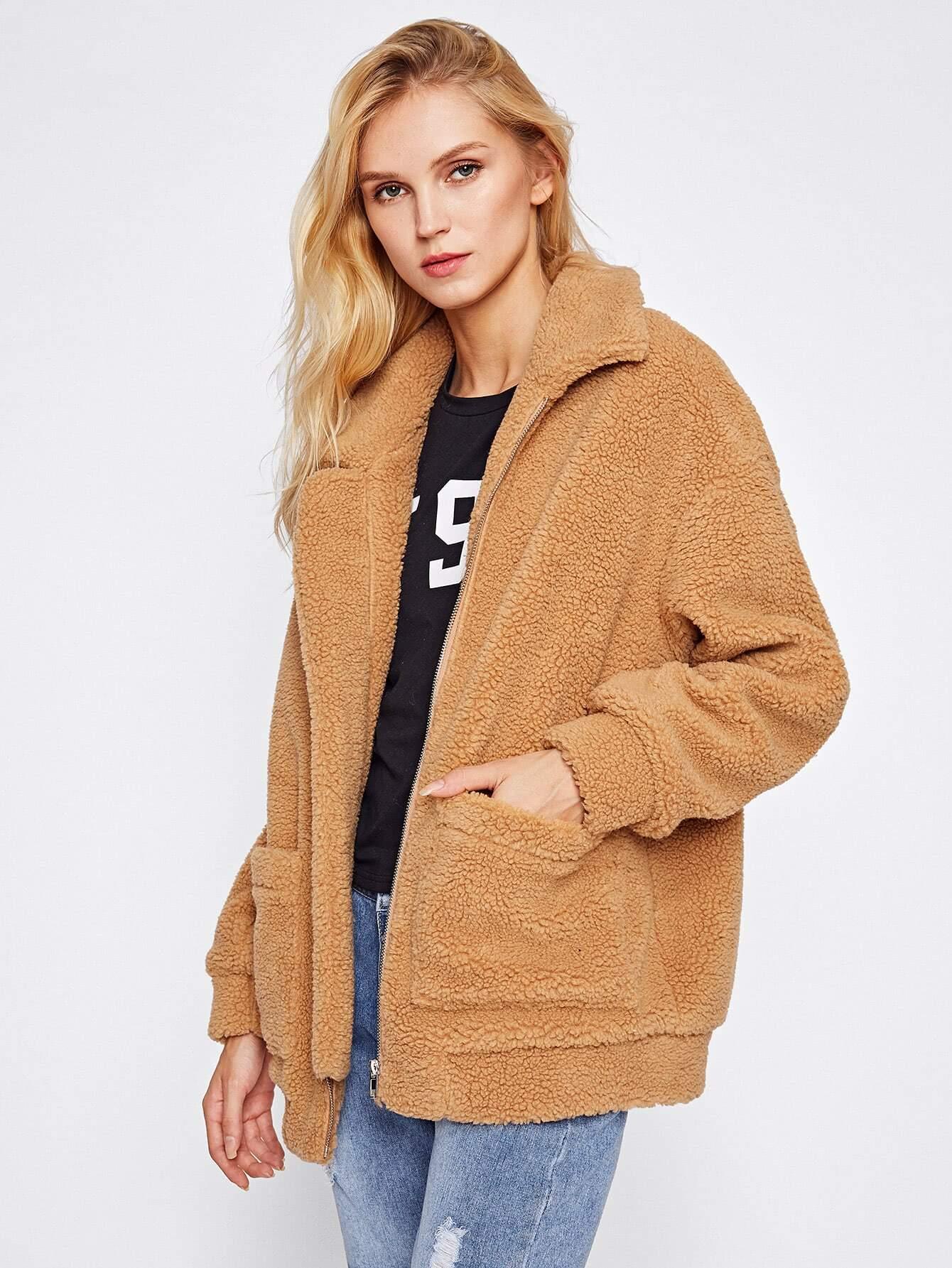 drop shoulder oversized fleece jacket shein sheinside. Black Bedroom Furniture Sets. Home Design Ideas