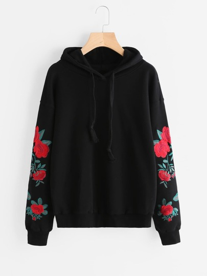 Drop Shoulder Flower Embroidered Sleeve Hoodie